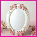 A498■送料無料【ROSYローズミラー】薔薇の鏡 アクロスシーズ卓上ミラーローズのスタンドミラー