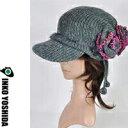 ショッピング薔薇 風 KAZE【一枚布の薔薇キャスケット グレーグリーン】オーダー品150-o グレイッシュなグリーンに巻き薔薇付色んなかぶり方ができる、つばを入れてもかわいい、回転させてもOKINKO YOSHIDAブランドのニット帽子・ハット帽子 森ガールにも大人気