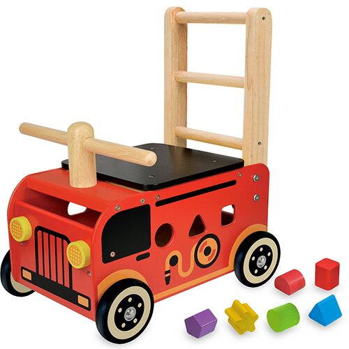 送料無料 アイムトイ ウォーカー&ライド 消防車|1歳 2歳 3歳 一歳 二歳 乗用玩具 乗り物 木のおもちゃ 木製 足けり 子供用 出産祝い 誕生日プレゼント 男の子 男 女の子 女 手押し車 ベビー 赤ちゃん 型はめパズル 知育玩具 誕生日祝い 出産お祝い 幼児 二人目 のりもの