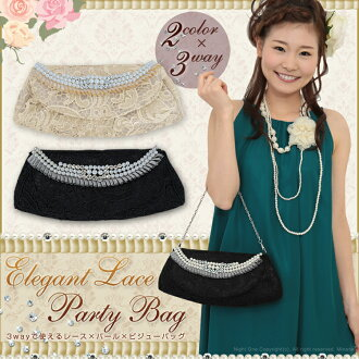 Party bag ☆ race x Pearl x bijoux ♪ elegant trace bag-