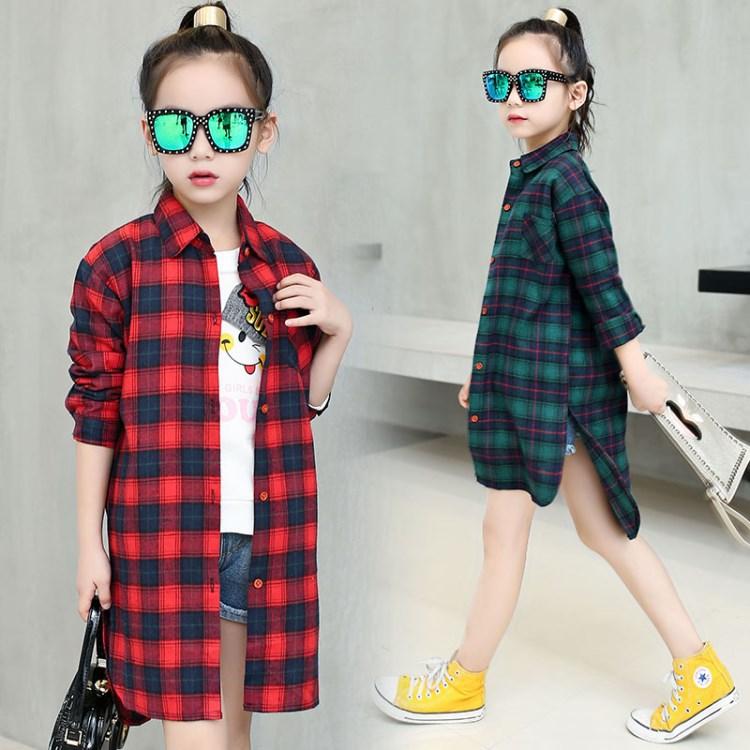 ブラウスシャツショットシャツ120-170cmチェック柄女の子シャツワンピースカッコ良いゆったりダン