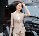 夏用 レディース ビジネススーツ コート パンツスーツ 通勤 オフィス トップス 制服 事務服 洗える 細身 就活 面接 大きいサイズ 2点セット  1ボタン 五分袖 グリーン カーキ ブラック