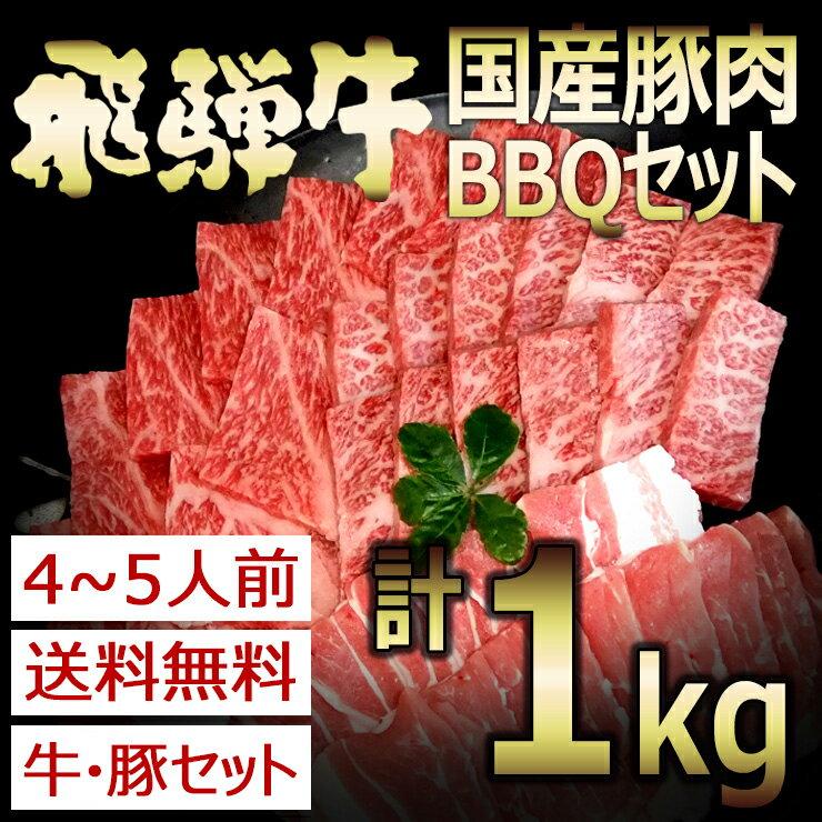 (冷凍)送料無料 飛騨牛&国産豚肉入りバーベキューセット1kg入り 飛騨牛 カルビ もも・かた 国産豚バラ ロース入り BBQ バーベキュー 肉【4〜5人分】