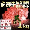 (冷凍)送料無料 飛騨牛&国産豚肉入りバーベキューセット1k...