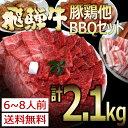 飛騨牛入バーベキューセット 焼肉2.1kg入牛肉/豚肉/鶏肉/カルビ/やきにく/セット/BBQ/肉/...