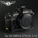 TP Original/ティーピー オリジナル Leather Camera Body Case レザーカメラボディケース for OLYMPUS STYLUS 1/ STYLUS 1S オリンパス STYLUS 1/STYLUS 1s用オシャレ本革カメラケース EZ Series Oil Black(オイル ブラック) スタイラス