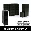 160-A16【送料無料】M-S2M1L1黒 ブラック モノトーン 収納 ミドル キッチン ランドリー 小物収納 隙間収納