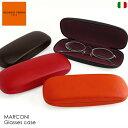 お洒落なラウンド型ワイドサイズ めがね入れ 眼鏡入れ イタリア製 合成皮革 ブラック オレンジ 老眼鏡ケース ハードケース ギフト プレゼント