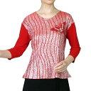 ショッピング衣装 【送料無料】Tシャツ ダンスシャツ 7分袖 社交ダンス カラオケに 舞台 衣装 赤(レッド)