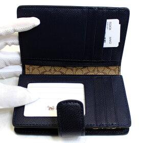 コーチCOACH二つ折り財布ミッドナイトブルーレザーミディアムf53436immidアウトレット