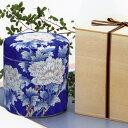 手造り高級骨壷 手描き牡丹(箱書組紐木箱付) 6寸