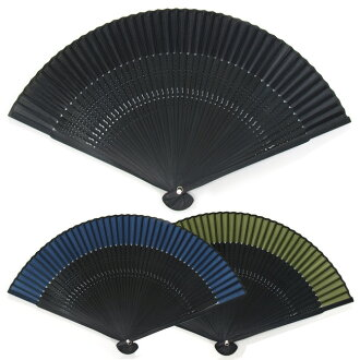 To best! men's summer fan ♪ perfect for gifts! Wrapping is OK! Silk 100% high quality men's fan-black-Navy blue / green tea / black [fun gift _ packaging