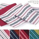 博多献上風の半巾帯 日本製ポリエステル 浴衣 半幅帯(半巾帯)独鈷文様 撫子色、木蘭色 パステルカラーざっくりとした編みのリバーシブル帯