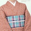 【送料込】洗える木綿着物/綿100%【 単衣仕立風-バチ衿 】コットンきもの【S・フリー(L寸)サイズ】大人可愛いレンガ色・かすり水玉柄-01