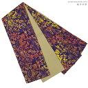 【日本製】西陣こもの屋セレクト【綿の半巾帯*コットン100%】リバーシブル半幅帯紫、黄色、オレンジ、サンドイエロー、花柄