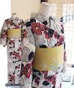 綿麻-女性浴衣-綿麻モダンな花柄-キナリ/赤色/ローズ/黒フリーサイズ・単品浴衣・女性ゆかた
