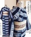 京都西陣・女性浴衣【送料無料】Fサイズ-仕立て上がり絞り浴衣有松鳴海絞 綿100%/藍色(紺)/白-鎧段絞り