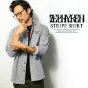 ゼファレン ZEPHYREN STRIPE SHIRT【メンズ レディース シャツ 長袖シャツ ストライプ】ストリート