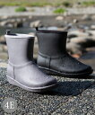 ショッピング長靴 シューズ レイン 大きいサイズ レディース ステッチ風デザイン ショート ブーツ 防水仕様 ワイズ4E相当 靴 グレー/ブラック 25.0〜25.5cm ニッセン