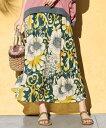 ショッピングロング スカート ロング丈 マキシ丈 大きいサイズ レディース 花柄 カットソー マキシ ワンピース グリーン系/黒系 L〜10L ニッセン