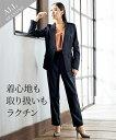 スーツ パンツ レディース ストレッチ ノーカラー ジャケット +9分丈 テーパード パターン ネイビー/黒 4L/5L/6L ニッセン nissen
