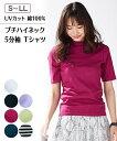 トップス レディース Tシャツ S-LL UVカット 綿100% プチハイネック 5分袖 Tシャツ フライス素材 ニッセン tp0