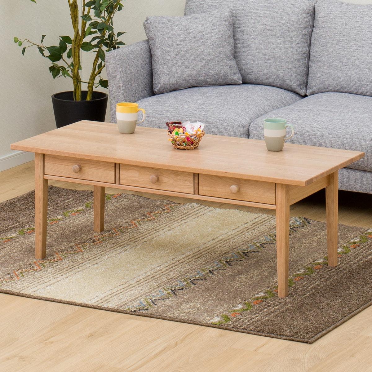 ホワイトオーク材の北欧風センターテーブル(オーランド120)