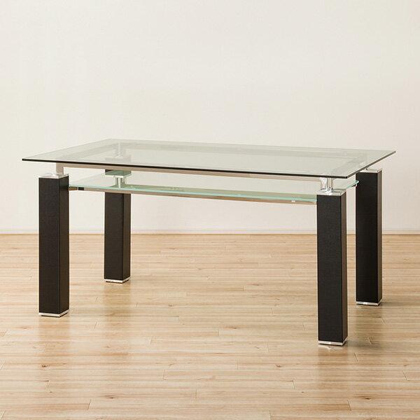 クールなガラス天板のダイニングテーブル(ニューヨークF BK HS LA12-1)