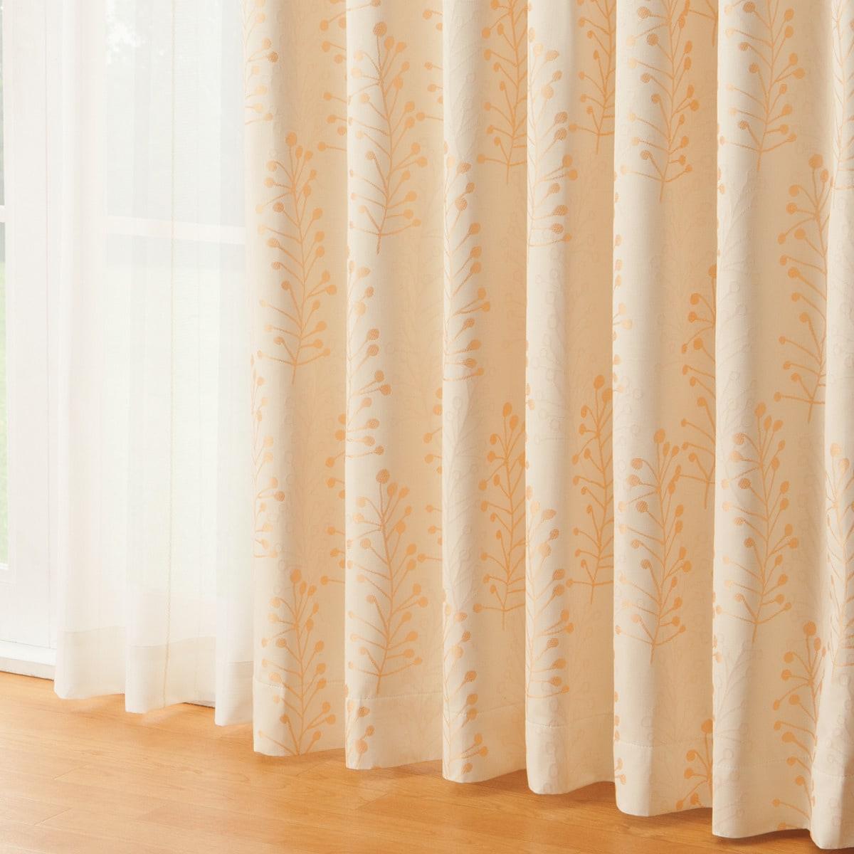 遮光1級・遮熱・遮音カーテン(ミスト3 オレンジ 100X135X2)