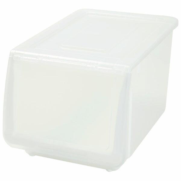 収納ケース フラッテハーフ本体+フタセット クリア(ホワイト/クリア) 8個セット