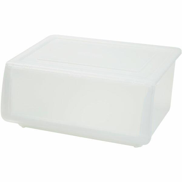 収納ケース フラッテ本体+フタセット クリア(ホワイト/ホワイト/クリア) 8個セット