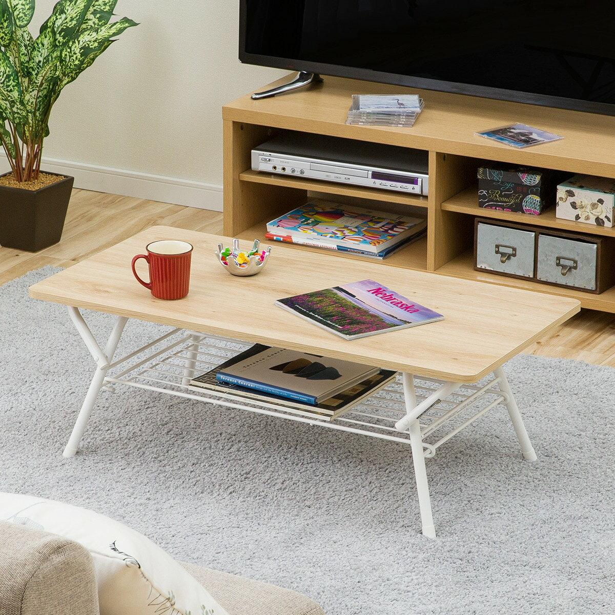 オリタタミテーブル シェルフィ 9045(ナチュラル)