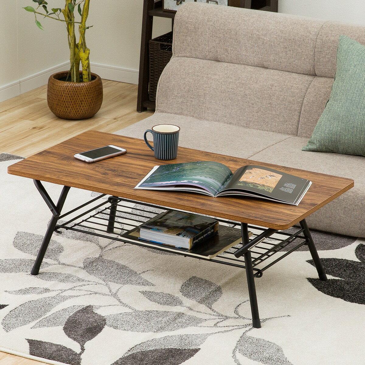 オリタタミテーブル シェルフィ 9045(ダークブラウン)