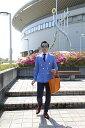 メンズダブルジャケット/タータンチェック(ブルー)/S.M.L.XL