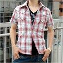 *メンズ アメカジブランド UPSTART スパンコール チェック ウエスタン 半袖 シャツ