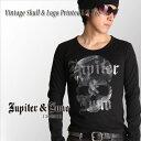 訳あり アウトレット sale 在庫処分メール便可Jupiter&Juno ジュピターアンドジュノVintage Skull & Logo Printed Long Sleeve Tee(ビンテージスカル&ロゴプリントL/S Tシャツ)