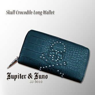 Jupiter &Juno ジュピターアンドジュノ Skull Crocodile Long Wallet (skull Croco wallet)