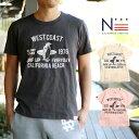 値下げ★【DM便可】親子 ペア お揃い レディース メンズ Tシャツ BEACH TOWN CA (160cm 165cm 175cm)【VT】
