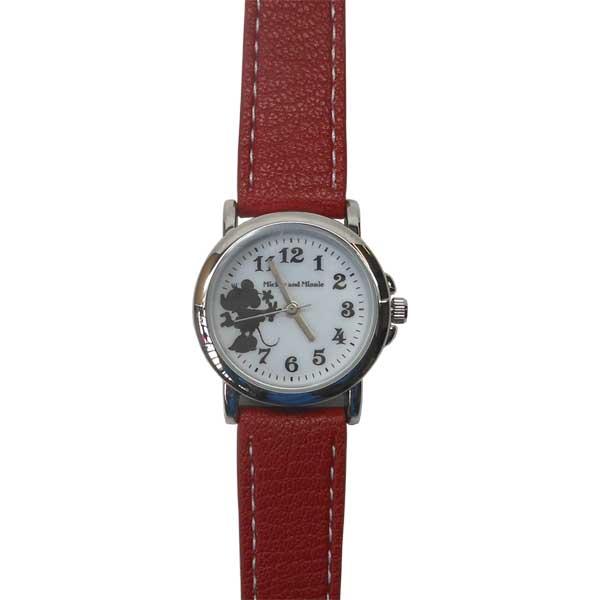 WKN009-2/【Field work/フィールドワーク】腕時計「ディズニーモノクロシルエット」(ミニー/レッド)/Disney/バンド/リスト/Watch/ファッション/ハンド/トケイ/おしゃれ/雑貨/キャラクター/ウォッチ/ギフト/プレゼント