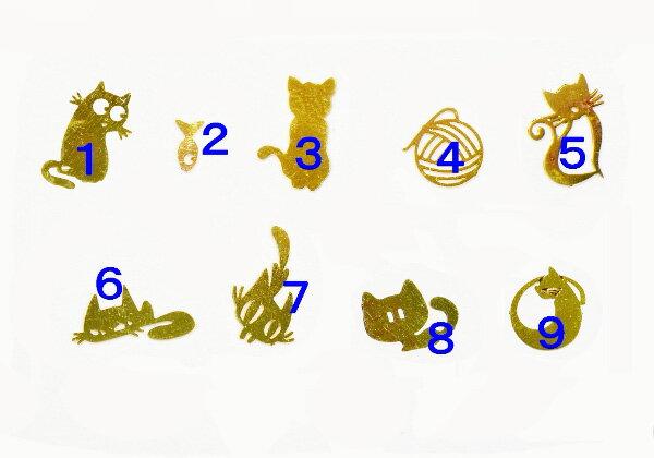 【メール便可】アクセサリー作製に♪猫のミニメタルパーツ/チャーム♪ゴールド【猫】【キャット】【毛玉】【毛糸玉】【魚】【オリジナル】極薄メタル/チャーム/ペンダント/ピアス/ハンドメイド/アンティーク/ネイル