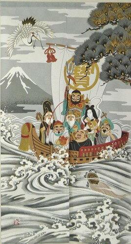 和風のれん 浮世絵のれん 宝船 七福神 85x150cm