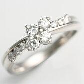 ◇《片平なぎささん使用》【輝き保証!】Ptダイヤモンド【スイートテン】フラワーリング[0.5ct]《ダイヤ:カラーD-F / クラリティVVS1-VS1 / カットEX-VG》*婚約指輪(エンゲージリング)としても人気です!*【スイート10】【鑑別書付き】