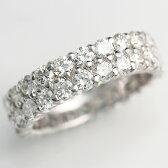 《斉藤陽子さん使用》【輝き保証!】Ptダイヤモンドフルエタニティリング2連[3.2ct前後]《ダイヤ:カラーD-F / クラリティVVS1-VS1 / カットEX-VG》*結婚指輪(マリッジリング)としても人気です!*【ダイヤモンド】