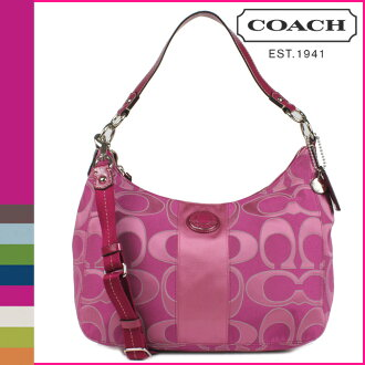 Coach COACH shoulder bag 2-way Fuchsia stripe outline C satin convertible Hobo ladies