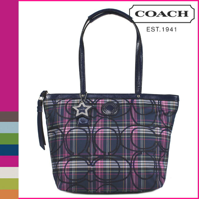... Coach 20040 Signature Stripe Tartan Plaid Tote Bag Purse Navy BLUE