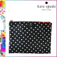 [SOLD OUT]送料無料 ケイトスペード kate spade マルチポーチ [ブラック×クリーム] WLRU1268 056 LARGE POUCH ナイロン レディース BLK CRMHST [ 正規 あす楽 ]