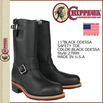Chippewa CHIPPEWA Engineer Boots 27899 11INCH BLACK ODESSA SAFETY TOE D wise E wise leather men's