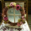 ピーチピンクのナチュラルプリザーブドフラワーリース お見舞い お祝い お誕生日 母の日ギフト