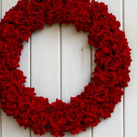 レッドローズリース『L』 【リース】【アートフラワー】【楽ギフ_包装】【楽ギフ_のし宛書】【楽ギフ_メッセ入力】【バレンタイン】【玄関】【クリスマス】 40cm※うっとりするような真っ赤なバラ★