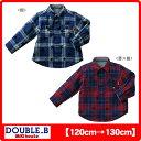ダブルB(ミキハウス) 星プリントチェックのリバーシブルシャツ
